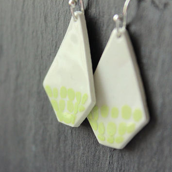 Ceramic handmade white and green dots square dangle earrings