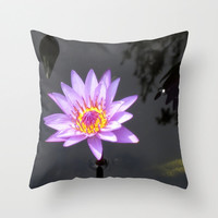 Water Lily Pillow, Lotus Flower Pillow, Purple Pillow Cover, Floral Pillowcase, Zen Decor, Lily Pads, 16X16 Pillow Cover, 18X18