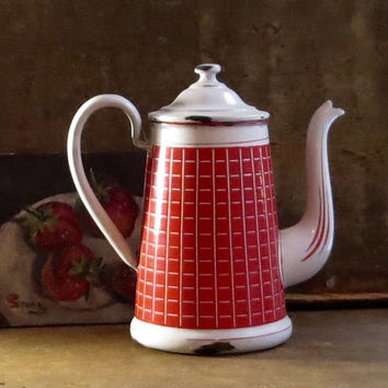 Vintage French Enamel Coffee Pot, Red Checks, Enamelware Coffeepot, Graniteware Biggin, Gooseneck Spout, Depose, Cottage Farmhouse Decor