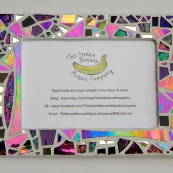 "Mosaic Picture Frame, 4"" x 6"", White with Iridescent + Textured Glass, Handmade Stained Glass Mosaic Design"