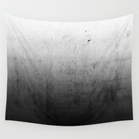 Black Ombre Concrete Texture Wall Tapestry by Cafelab