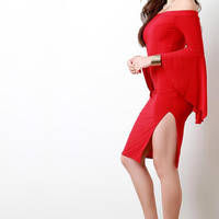 Banded Off The Shoulder Ruffle Sleeves Bodycon Dress