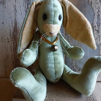 Vintage Velvet Rabbit: vintage style, soft sculpture animal. Perfect for a heirloom gift, baby room / child's room, or for the child in you!