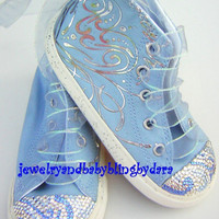 Infant Toddler Crystal Bling Blue Silver Swirl HiTop by dara43