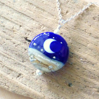 Crescent Moon Necklace, Ocean Nautical Lampwork Pendant Necklace, Navy Blue Lentil Bead, Lampwork Necklace, Beach Jewelry