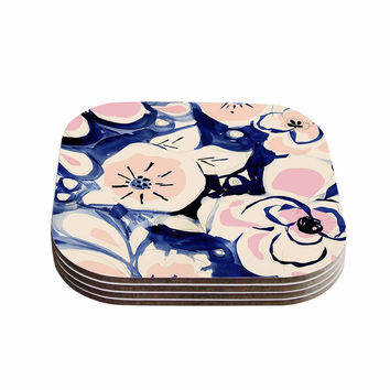 "Crystal Walen ""Midnight Moon Flower"" Blue Pink Coasters (Set of 4)"