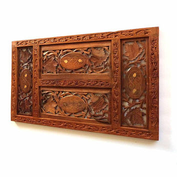 Vintage Teakwood Floral Brass Inlay Hand Carved in India Wall Sculpture Folk Art Panel Decorative Decor Tabletop Privacy Screen Wall Hanging
