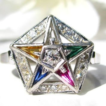 Vintage Order of the Eastern Star Diamond Ring, Feminine Masonic Ring, Synthetic Multicolored Stones 14K White Gold Ring Floral Diamond Ring