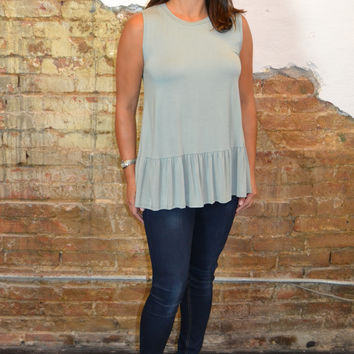 Summer Style Sleeveless Ruffle Top: Sage