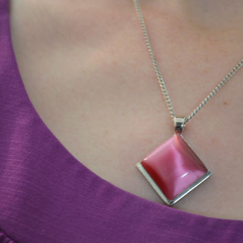 Vintage Necklace, Raspberry Pink, Lucite Moonstone Cabochon Pendant, Sterling Silver Chain, Signed Roman, 1970s