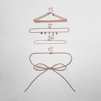Light pink multi row choker pack - chokers - jewelry - women