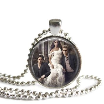 The Vampire Diaries Elena's White Dress 1 Inch Silver Plated Pendant Necklace Handmade