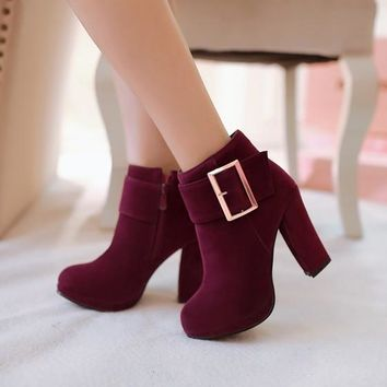 New Women Purple Round Toe Chunky Zipper Casual Ankle Boots