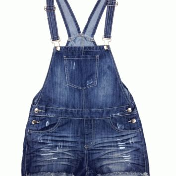 Pair up a solid white crop top with the Denim Session Overalls. Featuring denim throughout, distressed construction, five pocket design, silver button, front pouch, side button closures, adjustable shoulder straps, and fringed hem.
