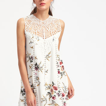 White Floral Print Round Neck Lace Panel Dress