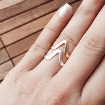 Triangle ring - 24k gold plated