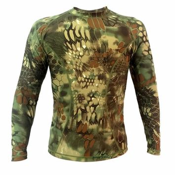 NEW Tactical Sniper Outdoor Camouflage T-shirt Men Breathable Army Tactical Mesh T Shirt homme Military Quick Dry Sports t-shirt