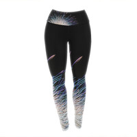 "Jillian Audrey ""Firework"" Black Pastel Yoga Leggings"