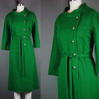 60s Green Wool Dress Vintage 1960s Paula Dean Originals Christmas Holiday Party Cocktail Coat  XL B 42""