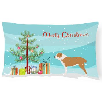 Central Asian Shepherd Dog Merry Christmas Tree Canvas Fabric Decorative Pillow BB2946PW1216