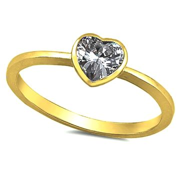 Yellow Gold Diamond Heart ring Kids and Ladies Size 2-10 in .925 Sterling Silver