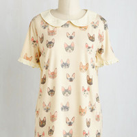Quirky Mid-length Short Sleeves Oohs and Paws Top