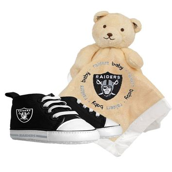 Oakland Raiders NFL Infant Blanket and Shoe Set