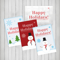Holiday cards Set of 4. Chirstmas Cards. Happy Holidays. Christmas Tree, Snowflakes, Snowman, Merry Christmas. Variety pack. x-mas. xmas.