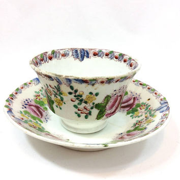 English Tea Cup Bowl Saucer, Georgian Cup & Saucer, Pink Enameled Roses Floral Motif, Bird and Flowers, 1800s, Antique China Tea Cup