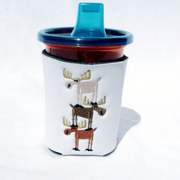 Baby BIB and SIPPY Cup KOOZIE - Personalized and Embroidered -  Cute Moose Stack Design