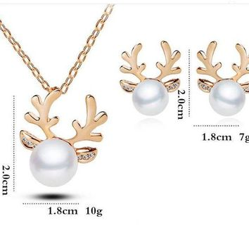 ac spbest E499 Fashion 2017 Exquisite Antlers Crystal Simulated Pearl Necklace Or Earrings Christmas Jewelry Newest Wedding Jewelry