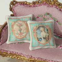Dollhouse romantic french style  Pillow. 1:12 dollhouse Miniature pillow.