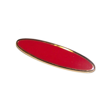 Vintage Red Brooch / Pin, Signed Monet Oval Gold & Red Enamel Brooch
