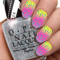 Ombre Dolphins / Lisa Frank / Nail Wraps / Nail Decals / Nail Art