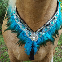 Turquoise Feather and Rhinestone Breast Collar - Arabian Show Horse Necklace -- Equine breast collar in turquoise and black