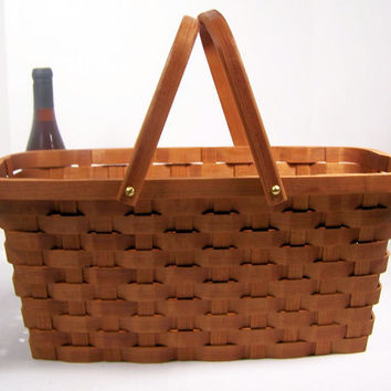 Large knitting supplies tote with handles Cherry wood