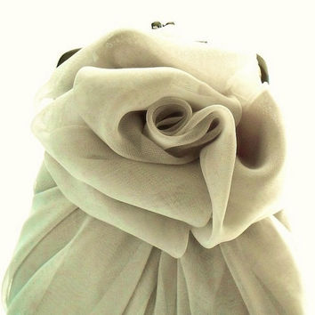 Light Gray Chiffon Rose Purse - Size Small - MADE TO ORDER