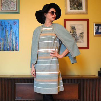 Vintage Dress Retro Fall Colors 1960s Women Striped Dress Matching Cardigan Moss Green 60s Day Dress Paris Plus Size