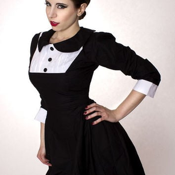 Gothic Lolita Black Aline Dress