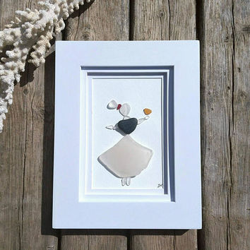 Sea glass maiden & bird friend// Beach decor// Sea glass art