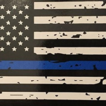BlueLine Flags Tattered Thin Blue Line Vinyl Reflective Decal, Black, White & Blue American Flag Sticker Honoring our Men & Women of Law Enforcement, 3M