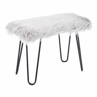 Gilin Bench Gray Faux Fur