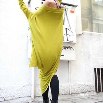 Oversize Neon Loose Casual Top / Asymmetric Raglan Long Sleeve Tunic One Size / Maxi Blouse