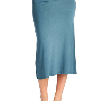 82 Days Women'S Rayon Span Mid-Calf Maxi Skirt - Solid