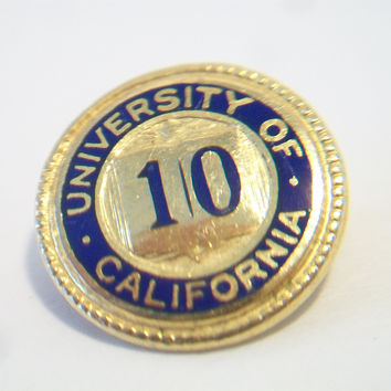 Vintage University of California Pin UC Berkeley 10 Years Service Unisex College Jewelry Accessories