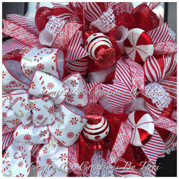 Christmas Wreath - Candy Cane Wreath - Red & White Wreath -  Whimsical Wreath - Bow Wreath - Deco Mesh Wreath - Door Decor - Ready To Ship