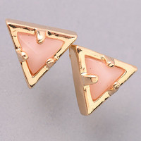 Gold Outline Triangular Stone Stud Earrings - Peach or Turquoise