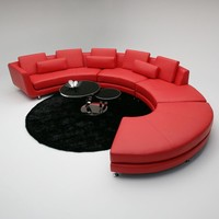 Divani Casa Red Circular Contemporary Leather / Leather Match Sectional Sofa & Ottoman