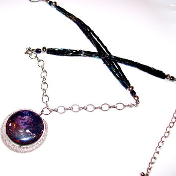Blue Galaxy Enamel Pendant Necklace w 3 Strand Iridescent Blue Bugle Beads Silver Chain, Handmade Enamel Blue & Purple Focal Pendant