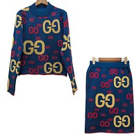GUCCI New Popular Women Casual GG Letter Jacquard Letter Knit Long Sleeve Sweater Top Skirt Set Two-Piece Blue